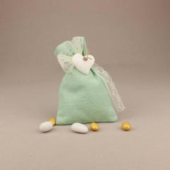 Μπομπονιέρα γάμου πουγκί από λινό με πήλινη καρδιά