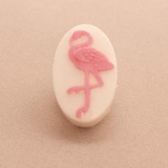 Χειροποίητο σαπουνάκι οβάλ με ροζ φλαμίνγκο