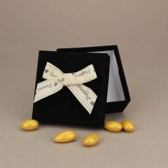 Μπομπονιέρα γάμου βελούδινο κουτάκι με κορδέλα ευχών