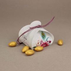 Μπομπονιέρα γάμου χάρτινο κουτάκι με φλοράλ σχέδια