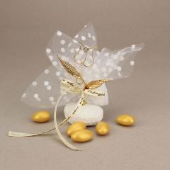 Μπομπονιέρα γάμου επιχρυσωμένο λουλούδι σε πέτρινη βάση