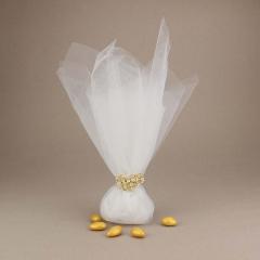 Μπομπονιέρα γάμου από διπλό τούλι με μεταλλικό διακοσμητικό καρδιά