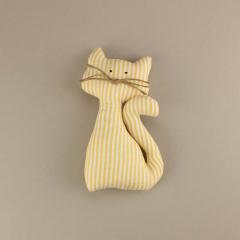 Διακοσμητικό μπομπονιέρας υφασμάτινο κίτρινο γατάκι