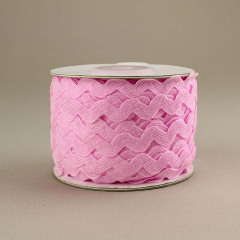 Κορδέλα ζικ ζακ ροζ 7mm/25m