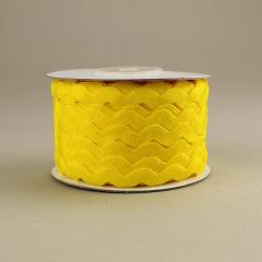 Κορδέλα ζικ ζακ κίτρινη 7mm/25m