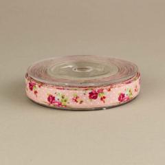 Κορδέλα φλοράλ 13mm ροζ