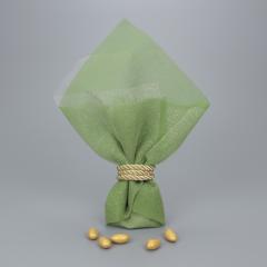 Μπομπονιέρα γάμου πράσινη γάζα και τούλι