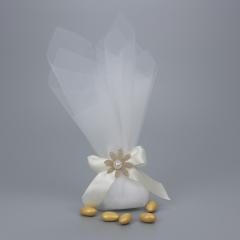 Μπομπονιέρα γάμου διπλό τούλι σατέν φιόγκο