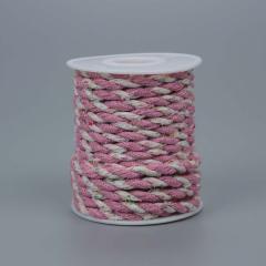 Κορδόνι υφασμάτινο δίκλωνο ροζ 6mmX10m