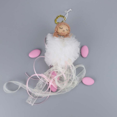 Μπομπονιέρα βάπτισης λευκό κρεμαστό πομπομ αγγελάκι