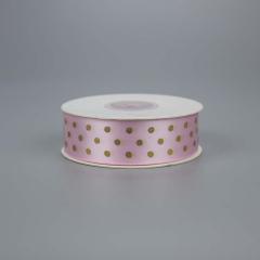 Κορδέλα σατέν ροζ  χρυσό πουά