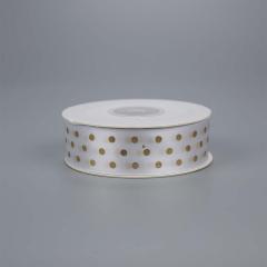 Κορδέλα σατέν λευκό με χρυσό πουά