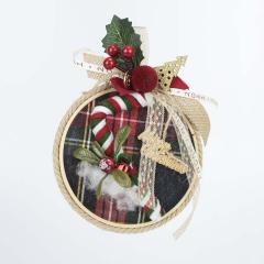 Χριστουγεννιάτικο τελάρο με υφασμάτινη καραμέλα μπαστούνι