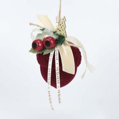 Χριστουγεννιάτικο βελανίδι μπορντο βελούδινο με γκι