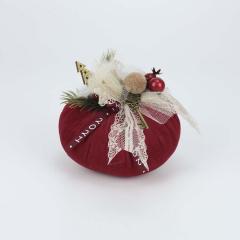 Χριστουγεννιάτικη κολοκύθα βελούδινη με κορδέλα 2021