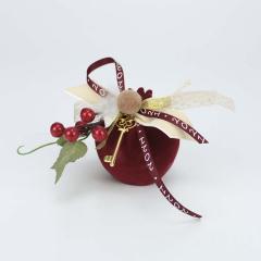 Χριστουγεννιάτικο γούρι ρόδι μπορντό βελούδινη υφή