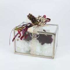 Χριστουγεννιάτικο δώρο γυάλινο κουτί με κολοκύθες