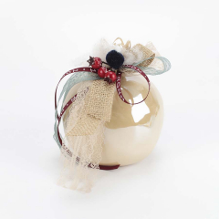 Χριστουγεννιάτικο γούρι πήλινο ρόδι εκρού