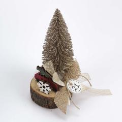 Χριστουγεννιάτικο δεντράκι ξύλινη βάση με αυτοκινητάκι