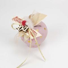 Πήλινος κουμπαράς ροζ με χρυσό πουά