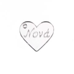 Καρδιά πλέξιγκλας ασημί Νονά 2εκ 5τεμ