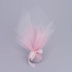 Μπομπονιέρα γάμου ροζ δίχτυ λευκό τούλι