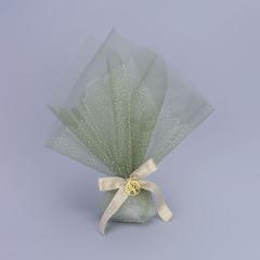 Μπομπονιέρα γάμου τούλι γκλίτερ οργάντζα πράσινη