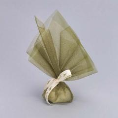 Μπομπονιέρα γάμου τούλι χρυσό γκλίτερ οργάντζα πράσινη