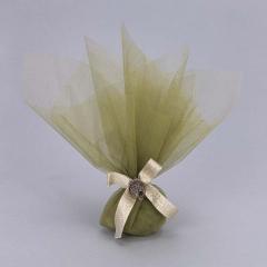 Μπομπονιέρα γάμου οργάντζα διπλή πράσινη