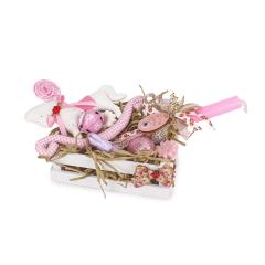 Πασχαλινό τελαράκι ξύλινο πρώτη ανάσταση ροζ