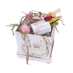 Πασχαλινό κουτί δώρου κουνελάκι ροζ φλοράλ
