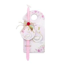 Πασχαλινή λαμπάδα με θέμα ροζ κύκνο
