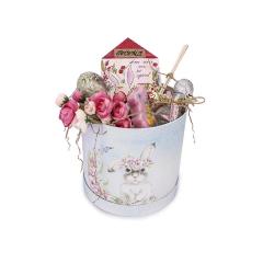 Πασχαλινό κουτί δώρου για νονά ροζ