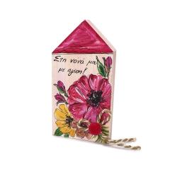 Πασχαλινό καδράκι για νονά ροζ φλοράλ
