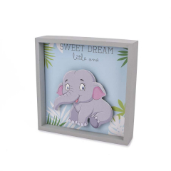 Καδράκι ελεφαντάκι με LED 18x18x5εκ