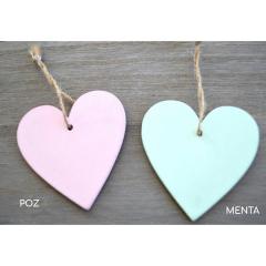 Καρδιά ευχών ρόζ ή μέντα ξύλινη με σχοινί