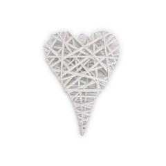 Ξύλινη καρδιά πλεκτή λευκή 20x27εκ