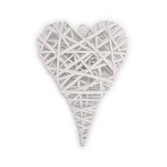 Ξύλινη καρδιά πλεκτή λευκή 24x35εκ