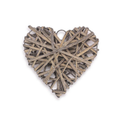 Ξύλινη καρδιά πλεκτή καφέ 15x15εκ