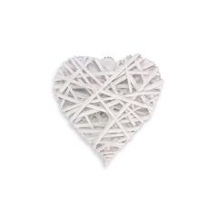 Ξύλινη καρδιά πλεκτή λευκή 15x15εκ