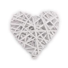 Ξύλινη καρδιά πλεκτή λευκή 30x30