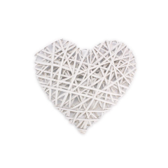 Ξύλινη καρδιά πλεκτή λευκή 20x20