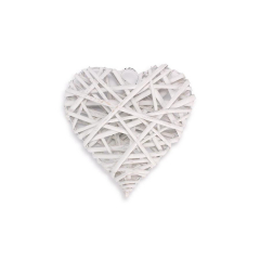 Ξύλινη καρδιά πλεκτή λευκή 10x10
