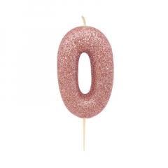 Χρυσό ροζ κεράκι νούμερο 0 με γκλίτερ