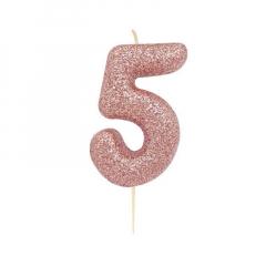 Χρυσό ροζ κεράκι νούμερο 5 με γκλίτερ