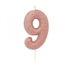 Χρυσό ροζ κεράκι νούμερο 9 με γκλίτερ