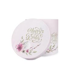 Πασχαλινό κουτί κυλινδρικό ροζ φλοράλ αυγό