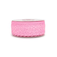 Κορδέλα δαντέλα ροζ 35mm 20μ