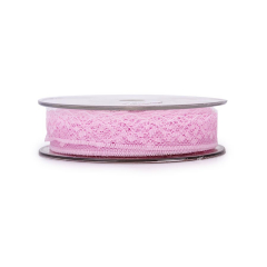 Κορδέλα δαντέλα ροζ 20mm 25μ