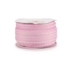 Κορδέλα γκρο ροζ με ραφή 6mmX50μ